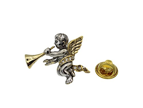 Cherub Angel with Hone Two Tone Tie Tac Pin Vintage Antique Style with Clear Rhinestones