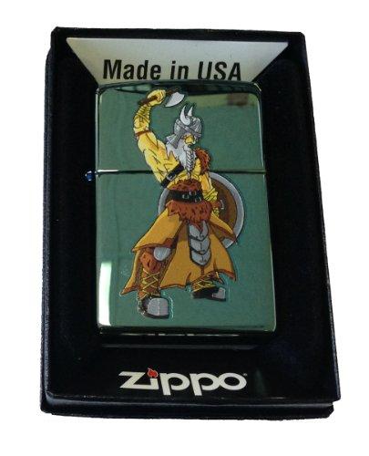 Zippo Custom Lighter - Viking Warrior w/ Axe & Shield Chameleon Green