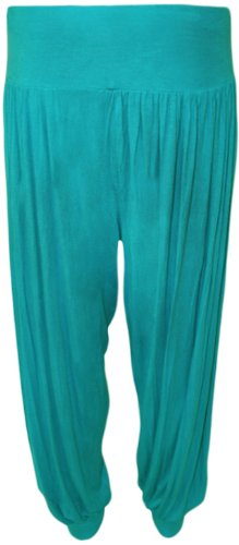 Pantaloni Harem Casual Donna Turchese Taglie Elasticizzato Da 26 Lunghezza 12 Pantaloni Forti Donna Formati Piena qfznwgI