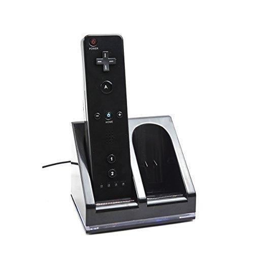 MP power @Negra Dual USB estación de carga + 2 x 2800 mAh baterías recargables para Nintendo Wii WIIMOTE MANDOS REMOTE