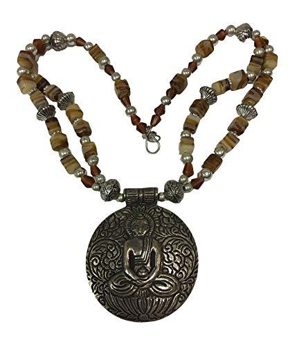 Buddha/w Earth-Tone Bead Indian Vintage White Metal Handmade Large Pendant Necklace ()