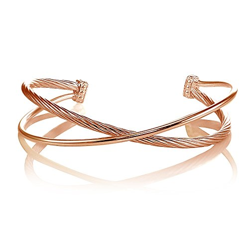 Gold Criss Cross Design (Rose Gold Flashed Sterling Silver Polished & Twist Criss Cross Cuff Bangle Bracelet)