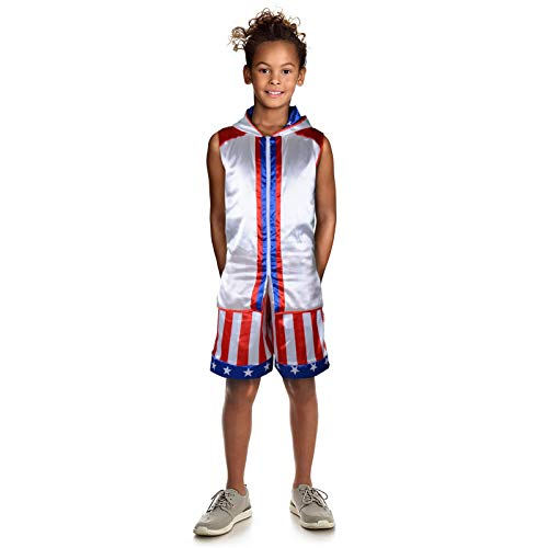Child Boxing Costume Rocky Balboa American Flag Robe Kids Halloween Party Cosplay Loungewear with Shorts Belt Set (Creed Jacket+Shorts, S)