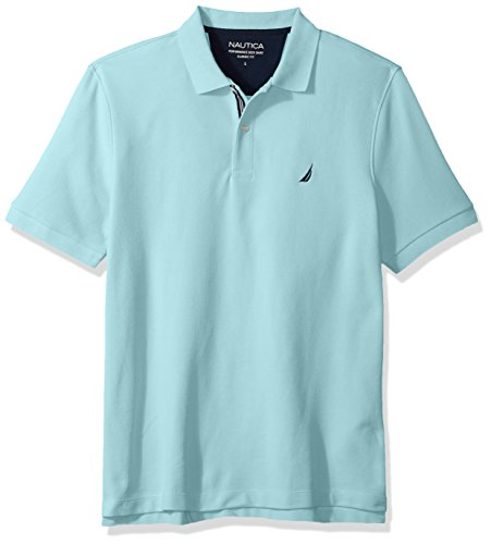 Nautica Men's Classic Short Sleeve Solid Polo Shirt, Harbor Mist, Large