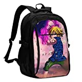 Business Computer The Seven Deadly Sins Meliodas Sword of Darkness Backpack with Headphone Port for Women & Men,Lightweight Anti-Theft Hiking Backpack for Teen Boys HIGT School Students Daypack