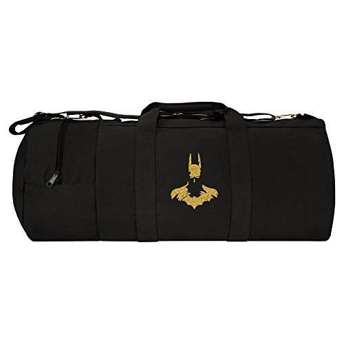"Batman Face Silhouette 30"" Double Ender Duffel Bag Detachable Strap Black & Gold (Batman Double Face)"