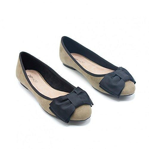 ZAPSHOP - Zapato bailarina con lazo de ante para mujer kaki