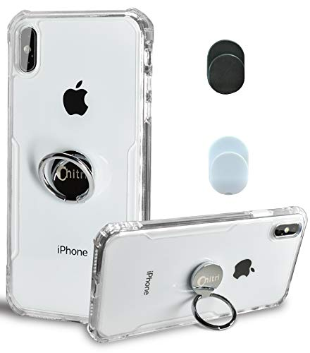 Chitri iPhone Xs Max Case Clear, [SGS Drop Protection Certification] with Ring Grip Holder Kickstand [Magnetic Car Mount] Hard Back Soft TPU Bumper Slim Shockproof Cover for Apple iPhone Xs max 6.5