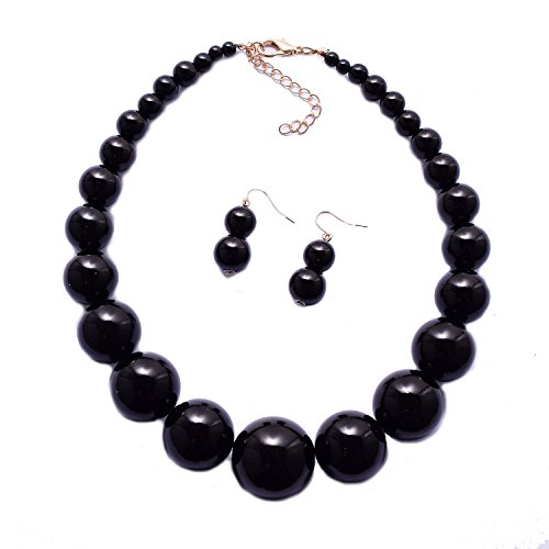 Yuhuan Womens Faux Big Pearl Choker Necklace and Earring Set Fashion Pearl Set (Black) (Chunky Beaded Jewelry)
