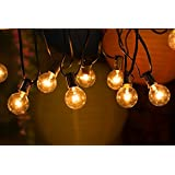 Jack-Store 25 Foot G40 Clear Globe Bulbs Patio String Lights for Patios, Cafes, Parties, Homes, Bistros, Weddings and Backyards(Black Wire)