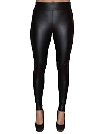 8813424c79ca1f Matty M Womens Thick Material Leggings With Wide Elastic Band (X-Small,  Faux Leather Black) at Amazon Women's Clothing store:
