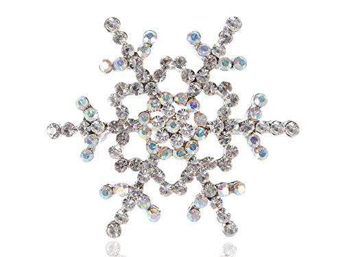 Alilang Womens Silvery Tone Clear Rhinestones Winter Holiday Snowflake Brooch Pin