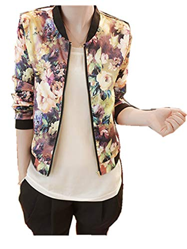 (Gillberry Women Stand Collar Long Sleeve Zipper Floral Printed Bomber Jacket (XL, Multi))