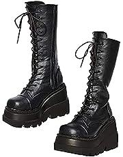 DUBA Womens High Platform Mid Calf Wedges Chunky Booties High Heel Round-Toe Side Zip Punk Combat Boots For Women