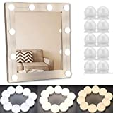 Vanity Light Mirror Hollywood LED Lights for Mirror with 10 Dimmable Light Bulbs, Oroncho 3 Color Light Kit Lighting Fixture Strip for Bedroom Makeup Vanity Table Set USB Charge (Mirror NOT Include)