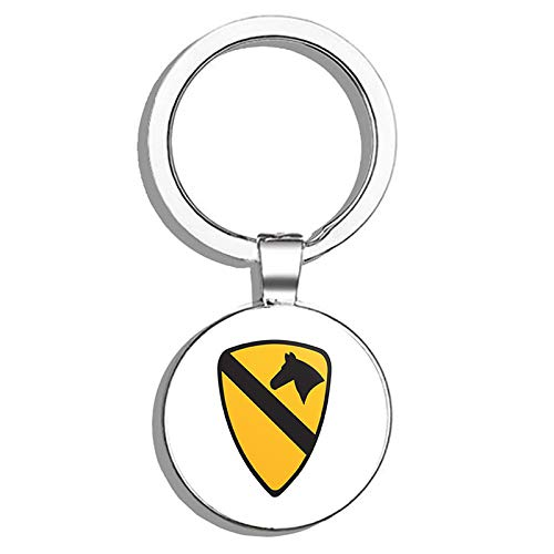 Cavalry Division Patch Metal Round Metal Key Chain Keychain Ring ()
