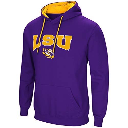 Tiger Athletic Sweatshirt - Colosseum NCAA Men's-Cold Streak-Hoody Pullover Sweatshirt with Tackle Twill-LSU Tigers-Purple-XXL