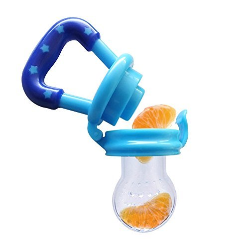 D&&R 1 X Bleu Sucettes Tétine pour Bébé Safe Silicone Alimentaire Feeder Pacifier Avec des Légumes et des Fruits Frais pour Ajouter de la Nutrition des Tout-petits Mous Gags Outil(L)