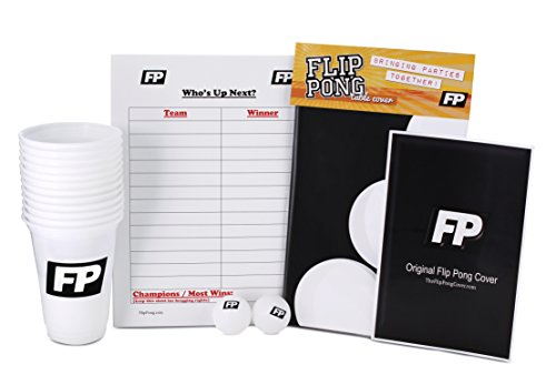 Flip Pong Party Package (Drinking Games Table Cover, Game Booklet, Cups and Balls)