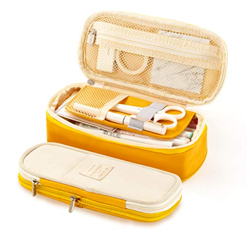 EASTHILL Big Capacity Pencil Pen Case Office College School Large Storage High Capacity Bag Pouch Holder Box Organizer Yellow New - Cube Stationary