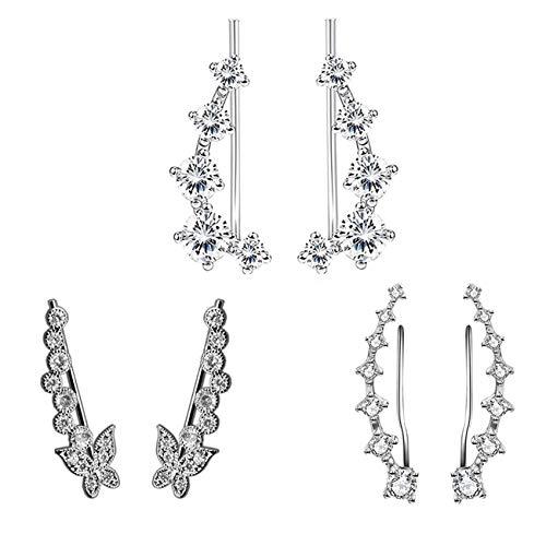 TOPBRIGHT 3 Pairs Crystal Rhinestone Leaf Ear Climber Earrings for Women Girls CZ Ear Stud Crawler Earrings Pierced Ear Cuff Pin Wrap (Style B)