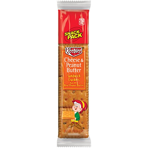 Keebler 21165 Sandwich Crackers, Cheese & Peanut Butter, 8-Piece Snack Pack, 12/Box