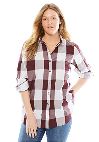 Womens Plus Size Long Sleeve Perfect Shirt Midnight Berry Buffalo 1X