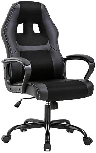 Office Chair PC Gaming Chair Cheap Desk Chair Ergonomic PU Leather Executive Computer Chair Lumbar Support for Women, Men(Black)