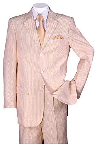 Fortino Landi Pinstripe Seersucker Dress Suit ST802 -Peach-54R
