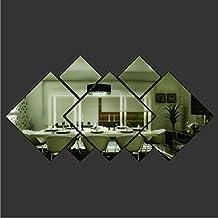 YSTD® 3d Glass Shining Diamond Shape Acrylic Mirror Effect Silver Wall Sticker Mural Window Glass Tile Bedroom Art Wall Decal Decor DIY Bedroom Living Room