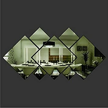 YSTDR 3d Glass Shining Diamond Shape Acrylic Mirror Effect Silver Wall Sticker Mural Window