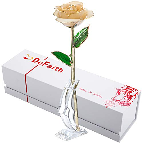 - DEFAITH Real Rose 24K Gold Dipped, Forever Gifts for Her Valentine's Day Anniversary Wedding and Proposal - Ivory with Stand