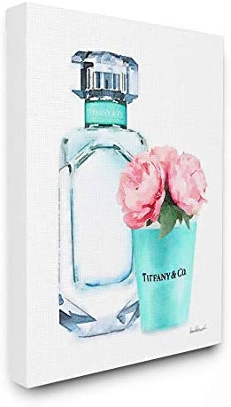 The Stupell Home D cor Collection Teal Blue Perfume Bottle and Pink Peonies Stretched Canvas Wall Art, Multi-Color, 24 x 30, Gallery Wrapped Canvas
