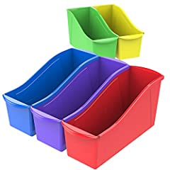 Keep your books organized and within easy reach with Storex Book Bins. Link these book bins together to make sturdy book storage or use the easy to grip handles to carry a set of books to your reading corner. The handles are perfectly sized f...