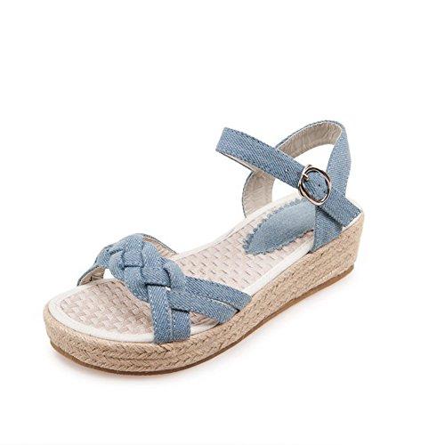 AllhqFashion Women's Buckle Open Toe Low-heels Denim Solid Platforms & Wedges LightBlue