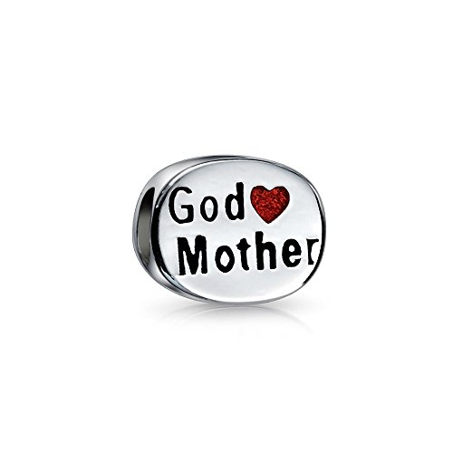 Oval Womens Charm - Two Sided Godmother Red Enamel Love Heart Oval Charm Bead .925 Sterling Silver