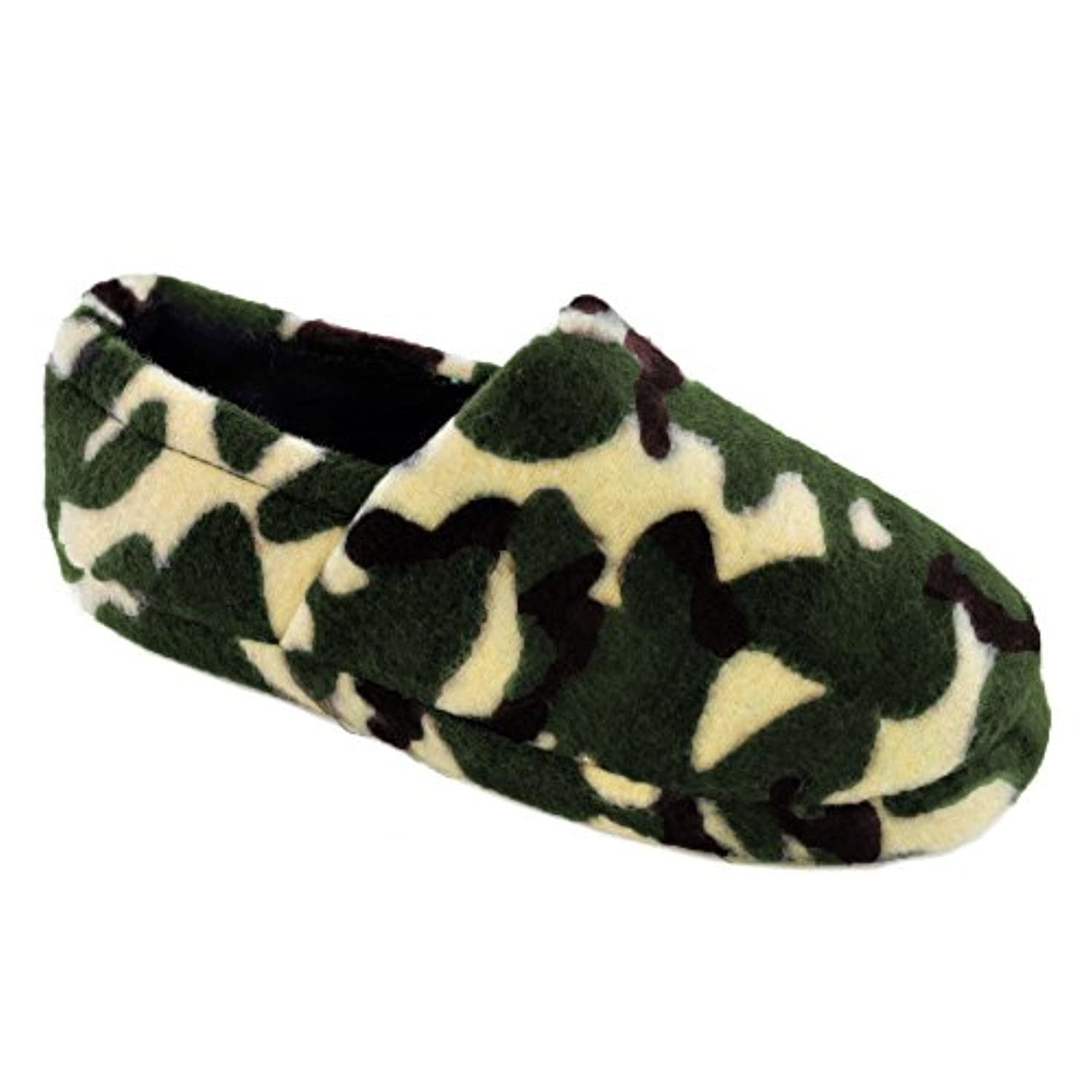 Kids Boys SlumberzzZ Camo Print Fleece Slipper With Elasticated Heel Grey 11-12
