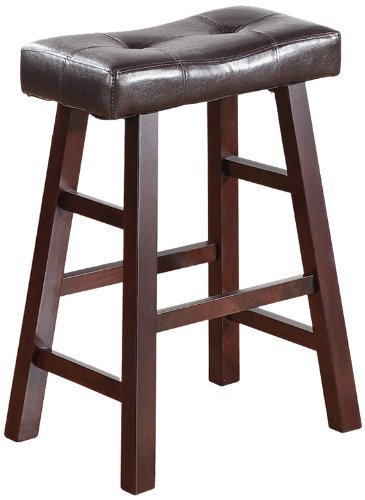 Stupendous Premium Bar Stools 24 Inches For Counter Set Of 2 Backless Modern Wood And Leather In Unique Design Beatyapartments Chair Design Images Beatyapartmentscom