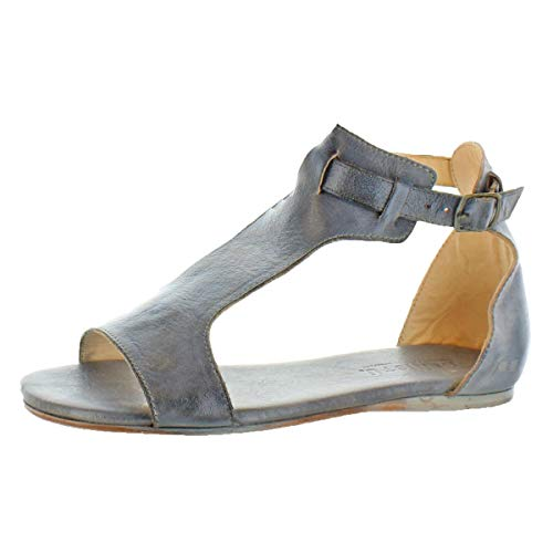 Bed|Stu Women's Sable Distressed Leather Flat Sandals Shoes Gray Size 7 ()