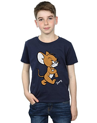 Tom and Jerry Boys Angry Mouse T-Shirt Navy Blue 5-6 Years
