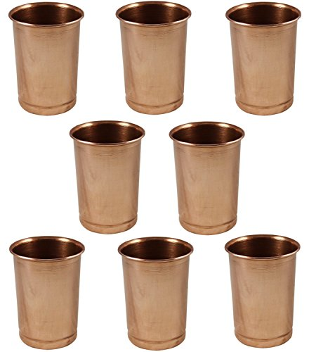 Set of 8 Glasses, Pure Copper Tumblers Ayurvedic Water Drinking Glasses, Capacity 350 - Night India Glasses