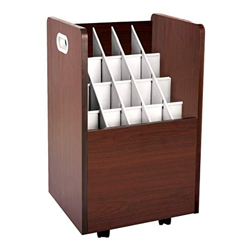 AdirOffice Mobile Wood Blueprint Roll File - Sturdy, Heavy Duty Large Document Organizer - Convenient Storage for Home Office or School Use (20 Slots, - File Storage Rolled
