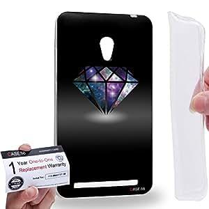 Case88 [Asus Zenfone 6] Gel TPU Carcasa/Funda & Tarjeta de garantía - Art Fashion Diamond Nebula Black Art0807