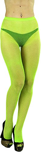 ToBeInStyle Womens Spandex Seamless Glittery Fishnet Pantyhose Tights Hosiery - Neon Green With Silver Glitter - One Size: Regular (Fishnet Neon Pantyhose)