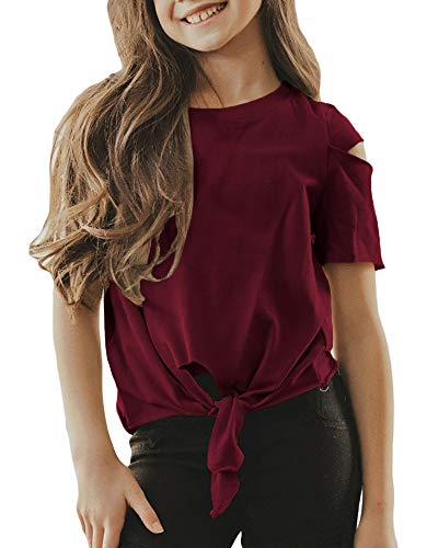 Umeko Girls T Shirt Summer Short Sleeve Tie Knot Front Cute Kids Distressed Tops Blouses Burgundy