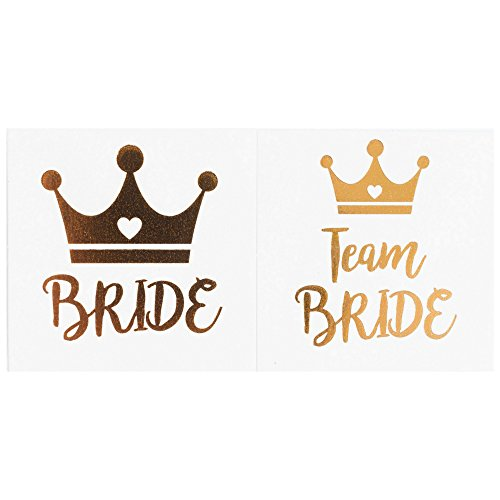 Bachelorette Party Temporary Tattoos, 12-Pack Bride & Team Bride Long-Lasting Metallic Gold for Wedding Ideas, Bridal Shower Decorations, Bridal Shower Party Supplies, 2 X 2 inches (Crown)