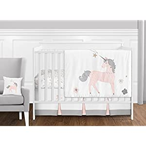 Sweet JoJo Designs 11 Piece Pink, Grey and Gold Unicorn Baby Girl Crib Bedding Set Without Bumper