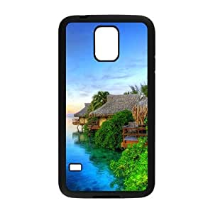 Personalized Clear Phone Case For Samsung Galaxy S5,attractive Hawaii scene seaside lodges