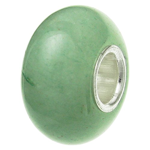 925 Sterling Silver Natural Aventurine Bead For European Charm Bracelets