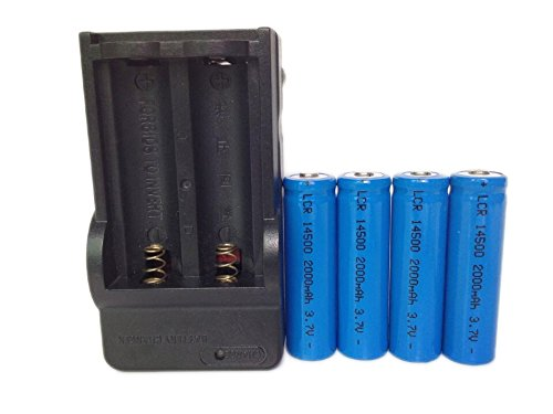ON THE WAY®Charger and 4Pcs 14500 2000mAh 3.7V Li-ion Lithium Rechargeable Battery AA Batteries For Led Flashlight Torch(Blue)